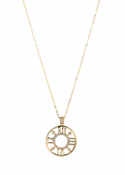 Roman numeral dial long pendant necklace accented with hand set high quality CZ, Gold finish