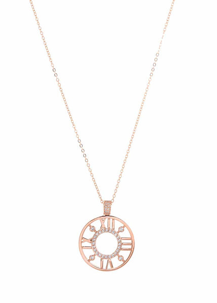 Roman numeral dial long pendant necklace accented with hand set high quality CZ, Rose Gold finish