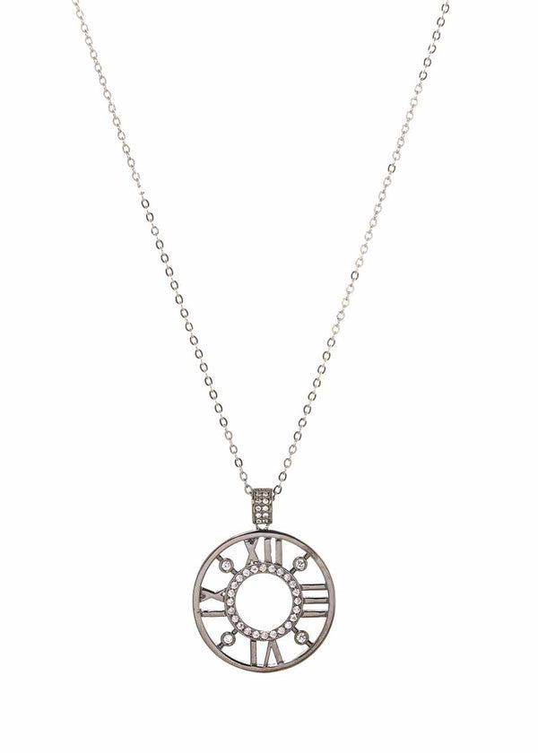 Roman numeral dial long pendant necklace accented with hand set high quality CZ, Gun metal finish
