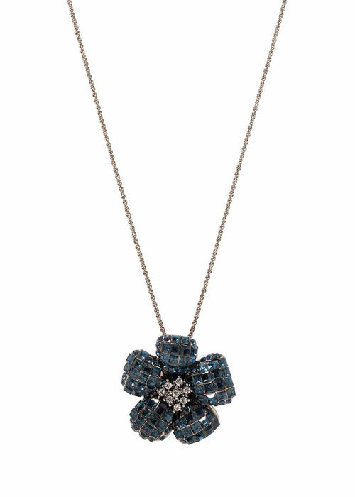Anemone Blue Sapphire CZ studded pin/pendant, Gun metal finish