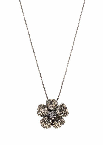 Anemone Black diamond CZ studded pin/pendant, Gun metal finish