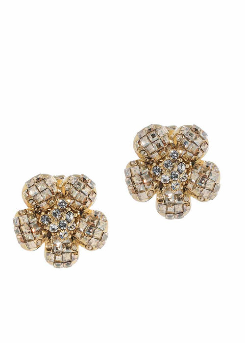 Anemone Yellow CZ stud earrings, Gold finish