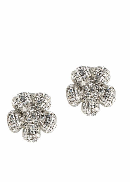 Anemone Clear CZ stud earrings, White Gold finish