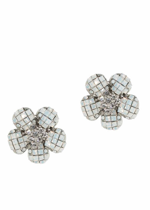 Anemone White Opal CZ stud earrings, White Gold finish