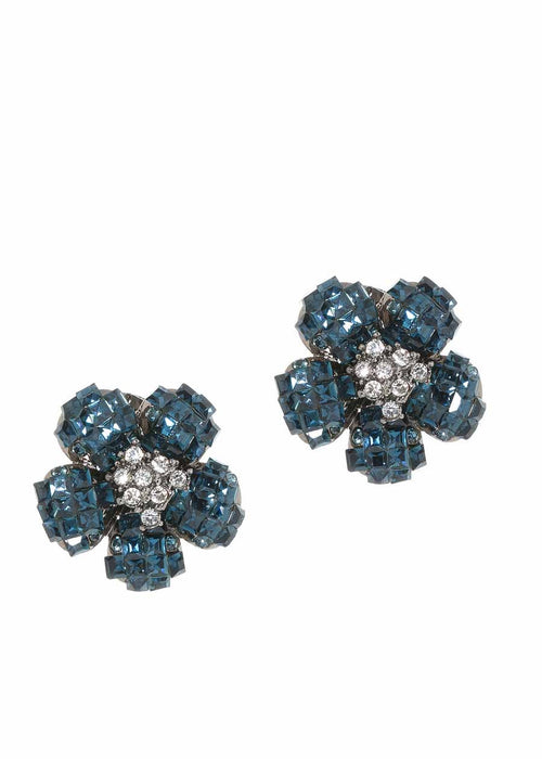 Anemone Black diamond CZ stud earrings, Gun metal finish