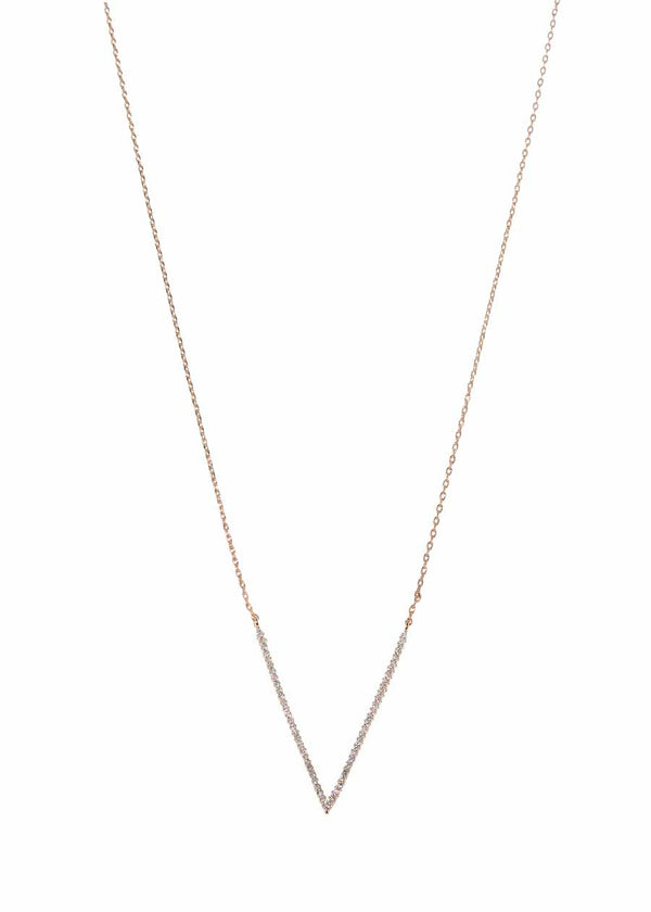 Nike (Greek goddess of victory) long necklace with hand set micro pave high quality CZ, Rose Gold finish