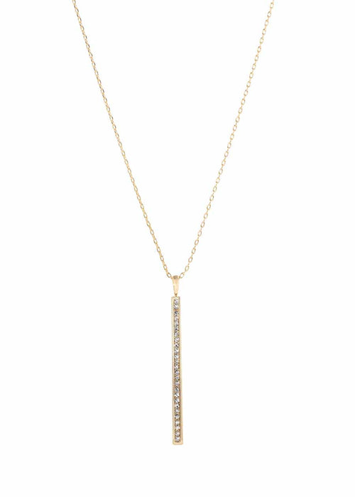 The pillar long pendant necklace with CZ, Gold finish