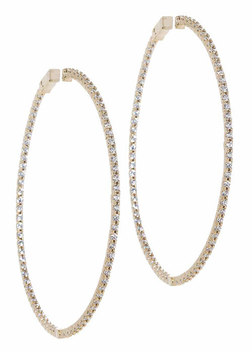 Inside out hoop with micropave handset CZ, Gold finish