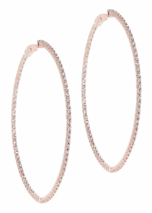 Inside out hoop with micropave handset CZ, Rose Gold finish