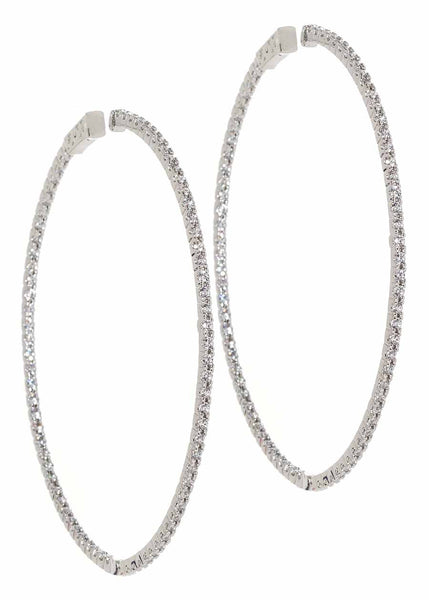 Inside out hoop with micropave handset CZ, White Gold finish