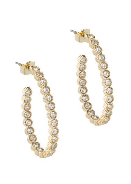 Vintage Bezel set clear CZ inside and out hoop earrings, Gold finish