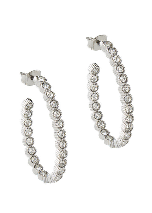 Vintage Bezel set clear CZ inside and out hoop earrings, White Gold finish