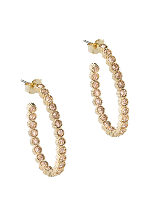 Vintage Bezel set Peach CZ inside and out hoop earrings, Gold finish