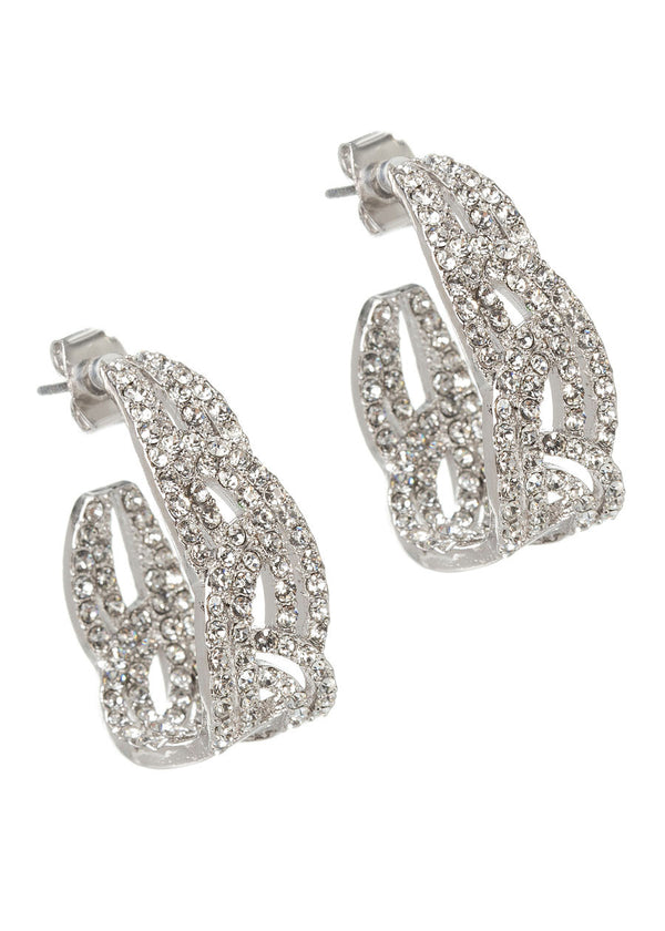 Moroccan CZ encrusted half hoop inside out earrings, Clear, White gold finish