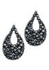 Black Swarovski crystals encrusted open tear drop earrings, Jet finish