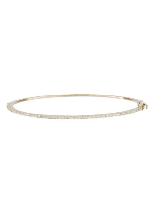 Ultra thin eternity oval bangle bracelet, Gold finish