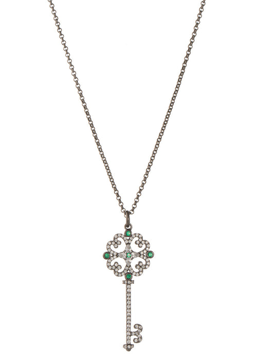 Edwardian handset CZ micro pave long key charm necklace with  Green emerald CZ accent, Gun metal finish