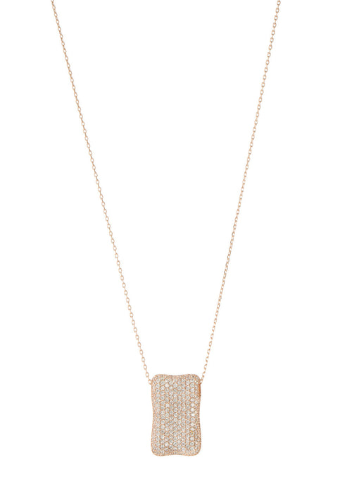 High quality CZ micro pave Rectangular motif charm long necklace, Rose gold finish