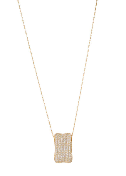 High quality CZ micro pave Rectangular motif charm long necklace, Gold finish