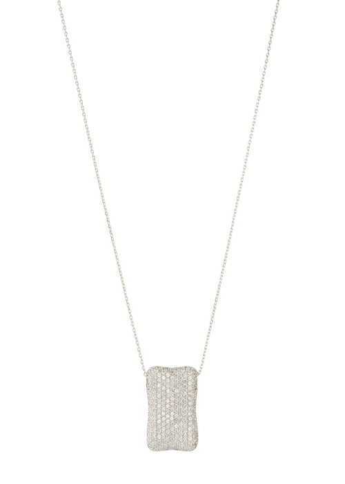 High quality CZ micro pave Rectangular motif charm long necklace, White Gold finish