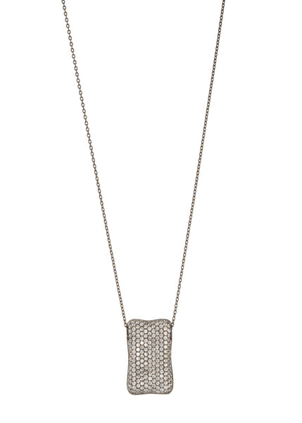 High quality CZ micro pave Rectangular motif charm long necklace, Gun metal finish