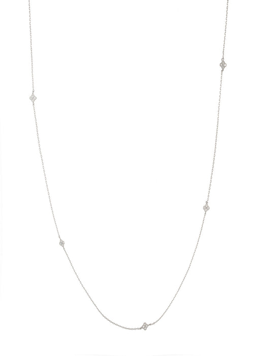 Ten CZ studded petite clover stationed long strand necklace, great for layering, White Gold finish
