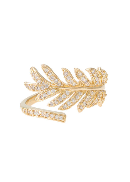 Feather adjustable size ring with high quality micro pave CZ, Gold finish