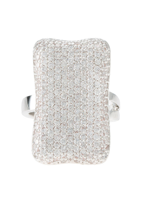 Rectangular motif adjustable size ring with high quality micro pave CZ, White Gold finish