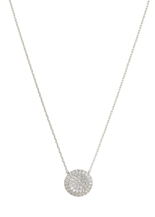 Single hand set micro pave CZ disc short necklace, White Gold finish