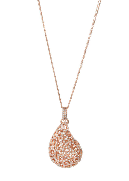 Ornate Edwardian tear drop long necklace with high quality handset micro pave CZ, Rose gold finish
