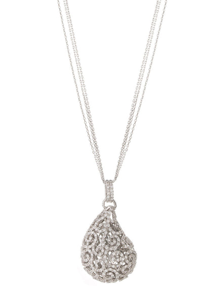 Ornate Edwardian tear drop long necklace with high quality handset micro pave CZ, White Gold finish