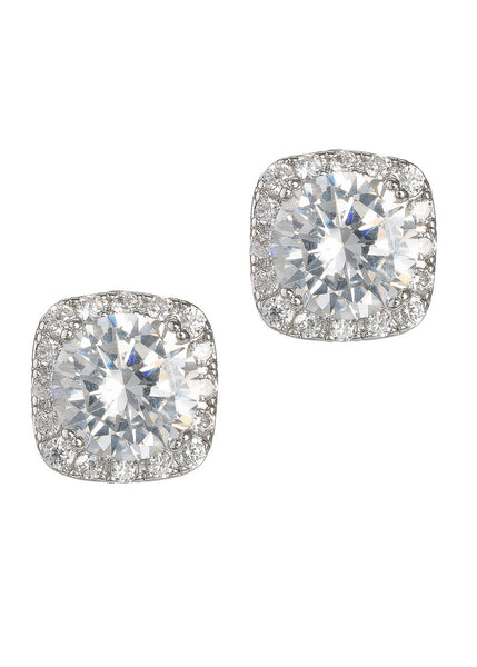 1.5 Ct Halo setting hi-quality stud earrings, White gold finish