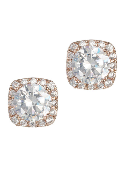 1.5 Ct Halo setting hi-quality stud earrings, Rose gold finish