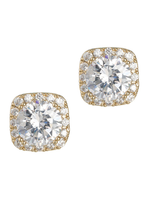 1.5 Ct Halo setting hi-quality stud earrings, Gold finish