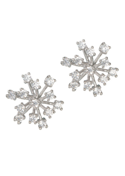 Individually prong set flower stud earrings with high quality CZ, White gold finish