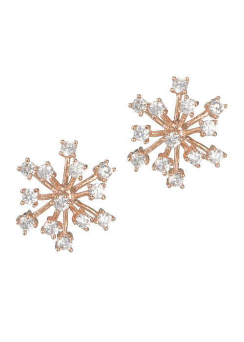 Individually prong set flower stud earrings with high quality CZ, Rose gold finish