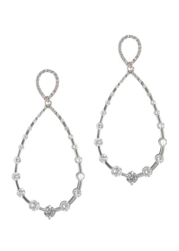 High quality CZ studded open tear drop earrings, White gold finish