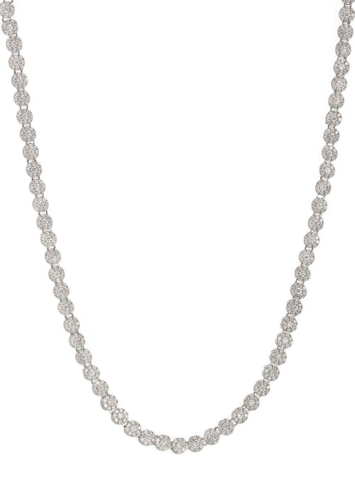 Substantial eternity necklace with hand set micropave CZ, White gold finish