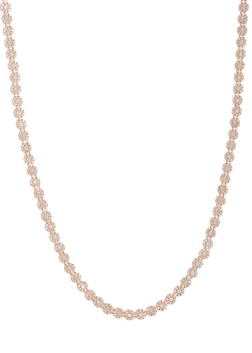 Substantial eternity necklace with hand set micropave CZ, Rose gold finish