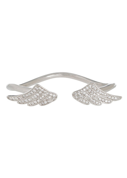 Angel Wings adjustable Bracelet, White gold finish