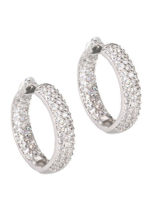 High quality CZ hand set micro pave inside out hoop earrings in White Gold