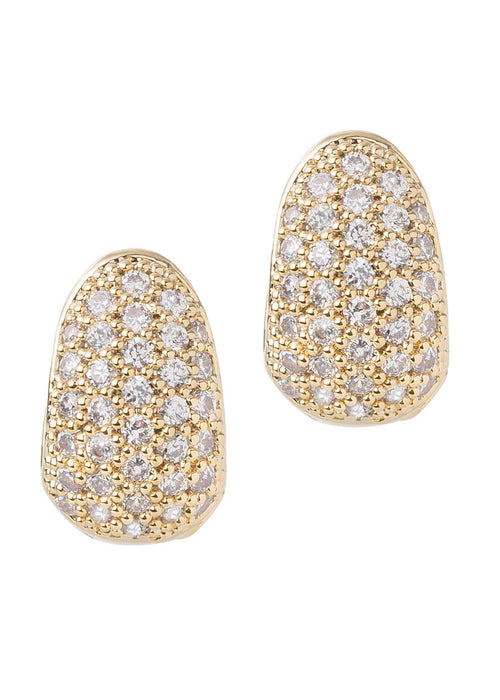 Petite huggie earring with high quality handset micro pave CZ in Gold finish