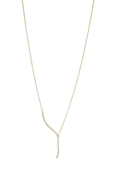 Short CZ accented lariat necklace in Gold finish