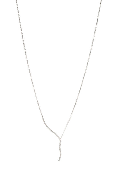 Short CZ accented lariat necklace in White Gold finish