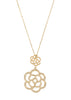 Camellia short pendant necklace with micro pave CZ in Gold finish