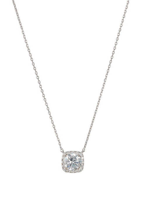 1.5 Ct Halo setting hi quality CZ short necklace, White gold finish