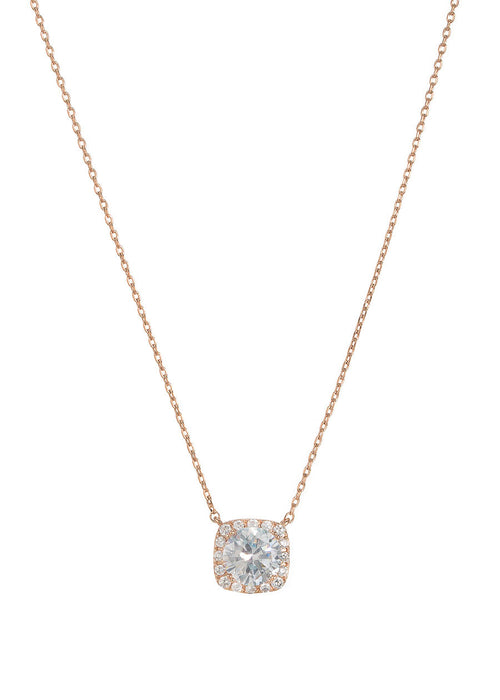 1.5 Ct Halo setting hi quality CZ short necklace, Rose gold finish