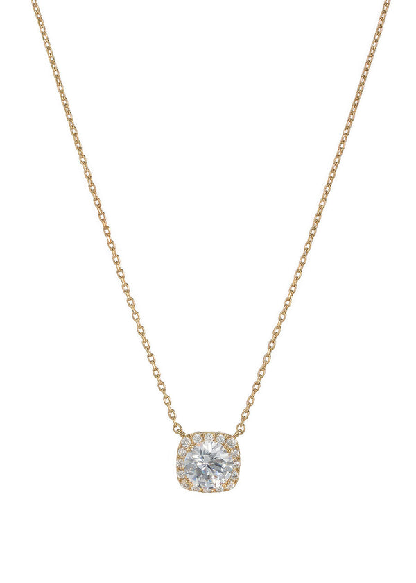 1.5 Ct Halo setting hi quality CZ short necklace, Gold finish