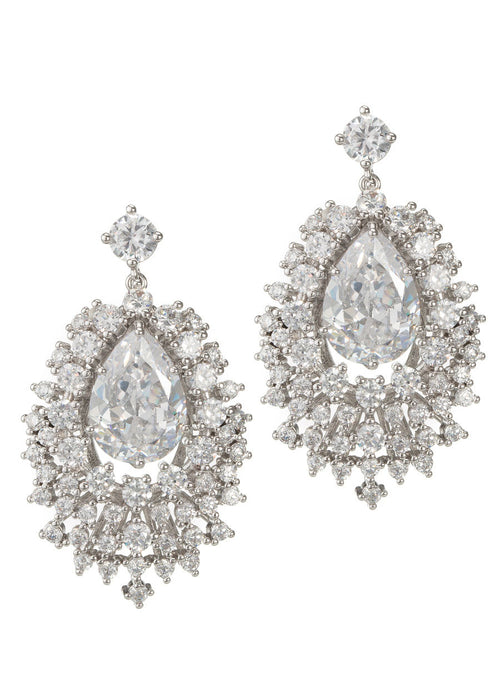 The Red Carpet chandelier earrings with hand set Clear high quality CZ in White Gold finish