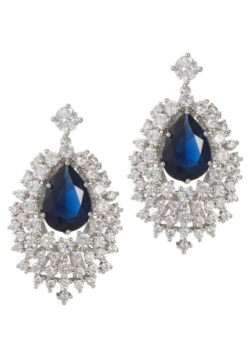 The Red Carpet chandelier earrings with hand set Blue Sapphire high quality CZ in White Gold finish